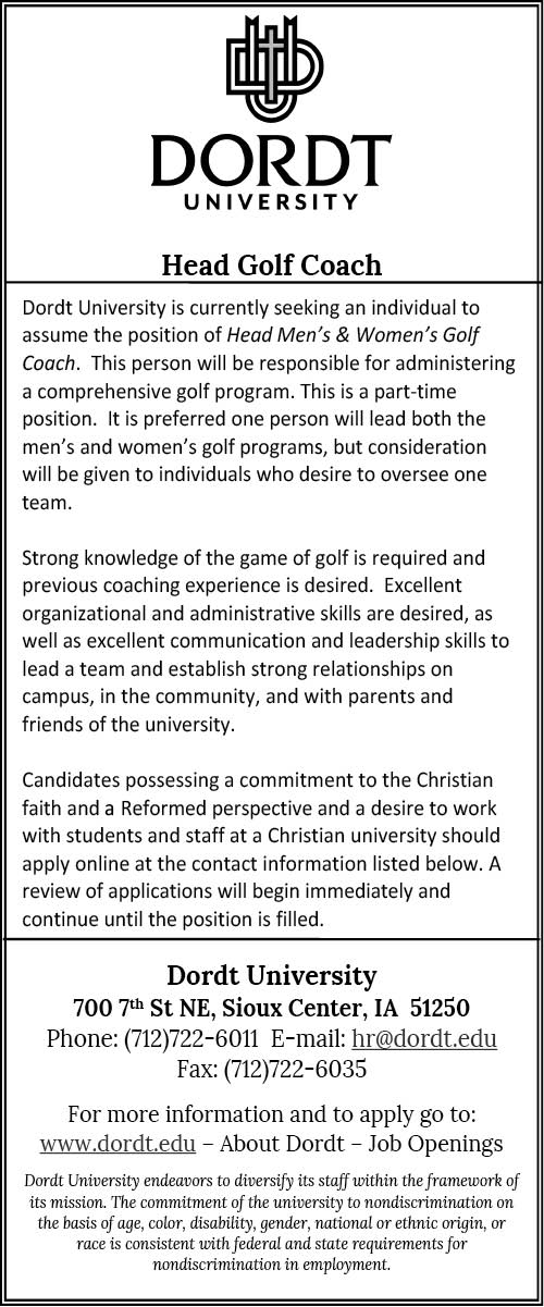 Head Golf Coach at Dordt Universiy