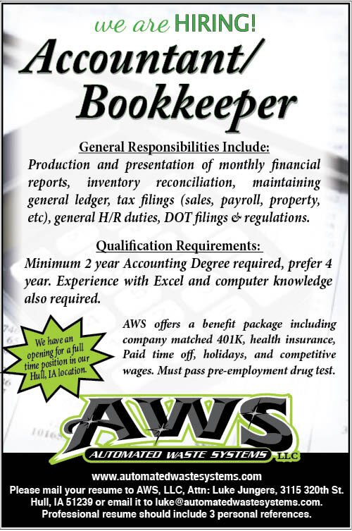 Accountant/Bookkeeper at Automated Waste Systems