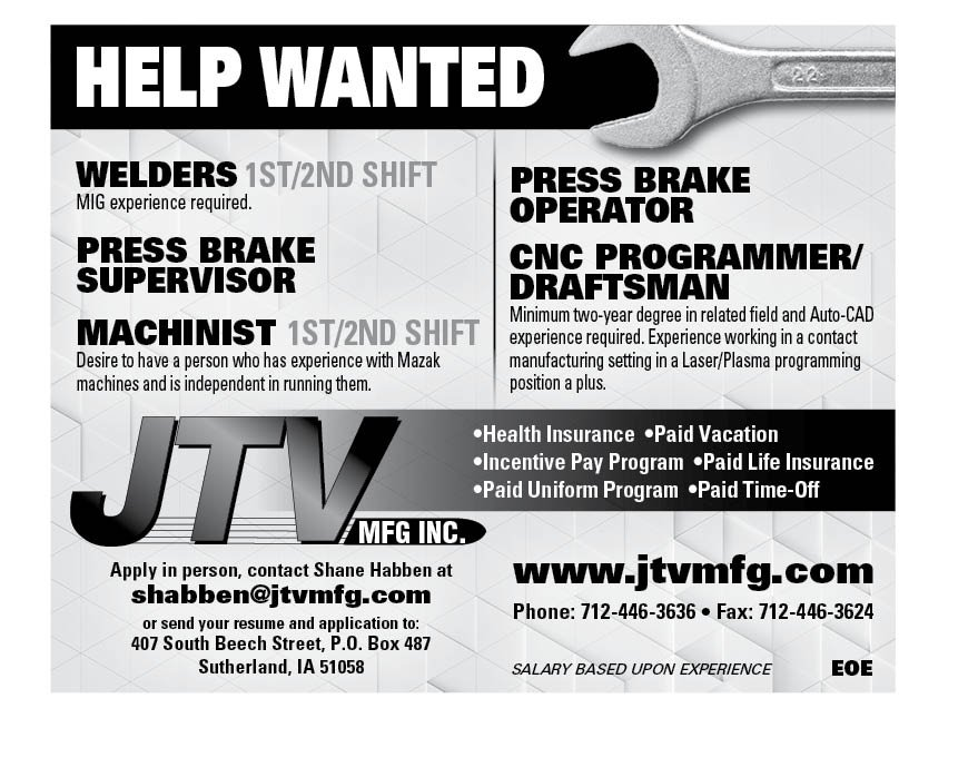 Positions at JTV Mfg