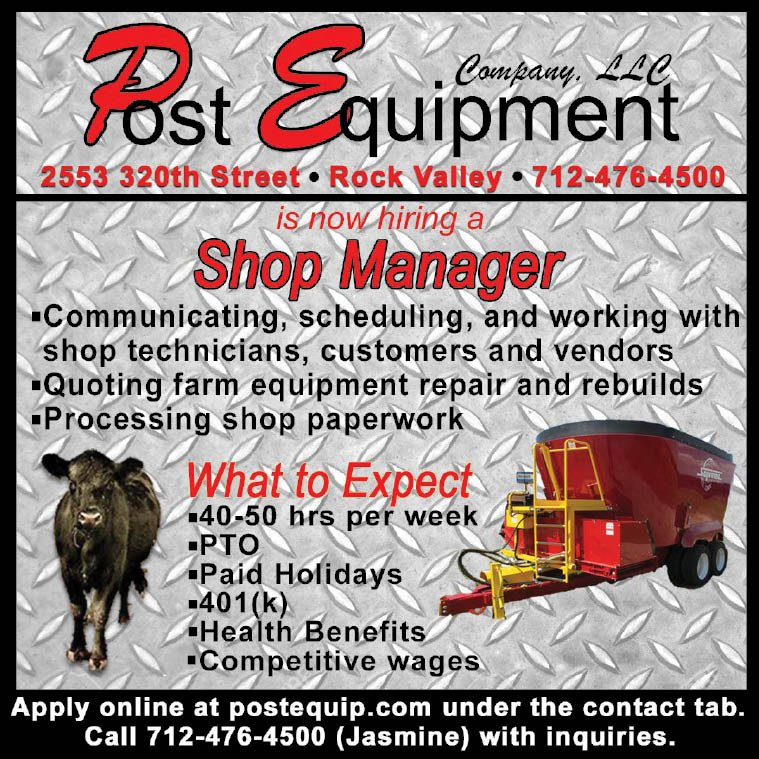 Shop Manager at Post Equipment