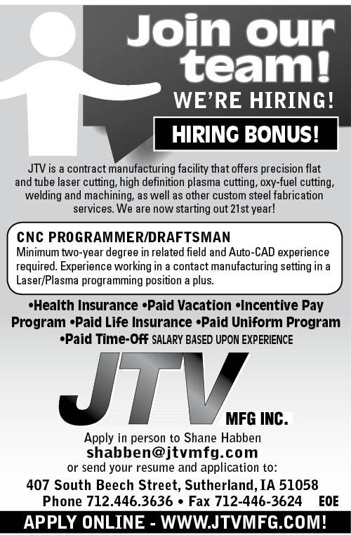 CNC Programmer/Draftsman at JTV Manufacturing