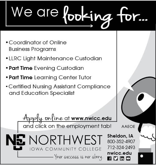 Positions at Northwest Iowa Community College