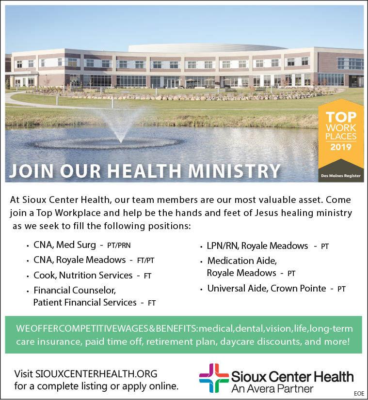 Positions At Sioux Center Health Healthcare Nurse Jobs