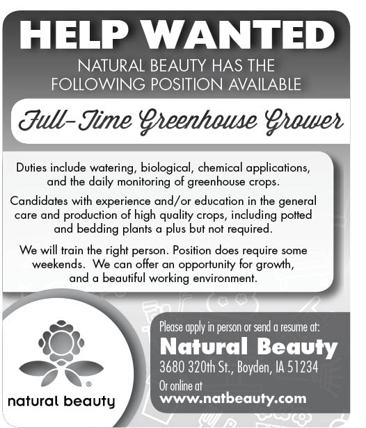 Full Time Greenhouse Grower at Natural Beauty