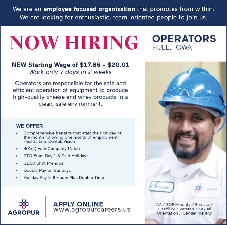 Now Hiring Operators at Agropur