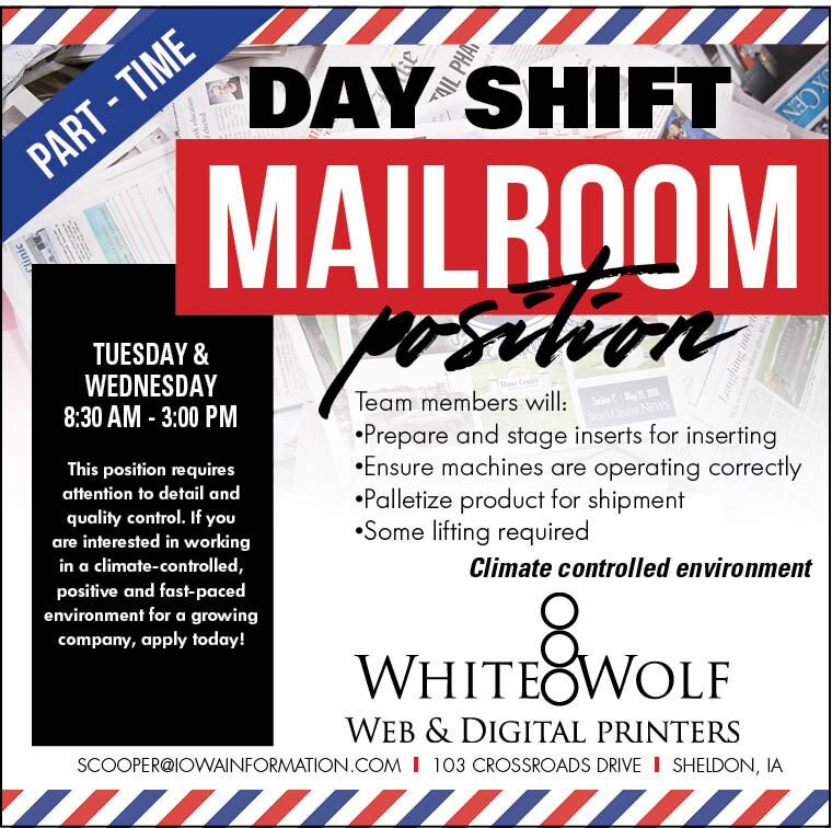 Day Shift Mailroom Position at White Wolf Web