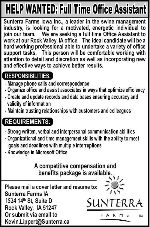 Full Time Office Assistant at SunTerra