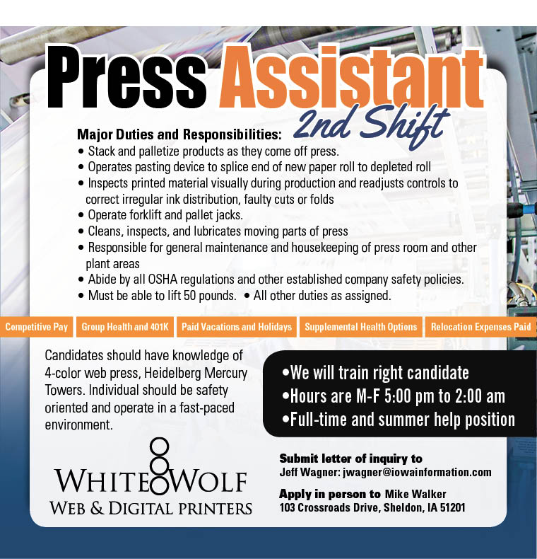 Press Assistant 2nd Shift at White Wolf Web