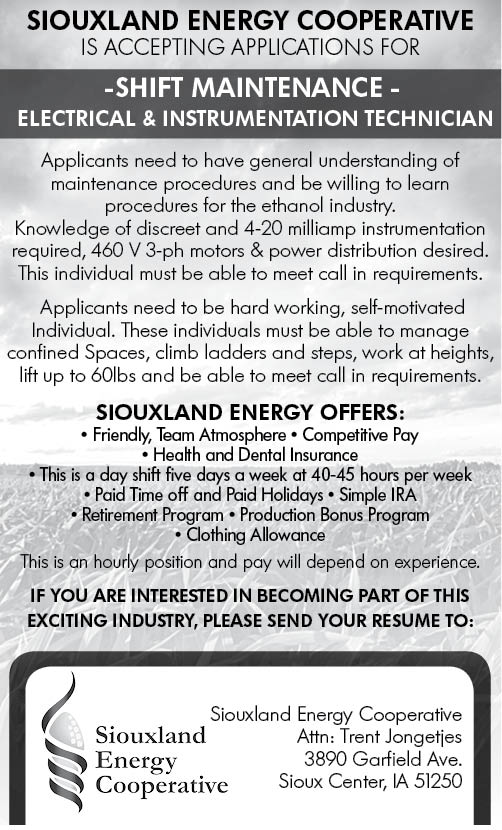 Electrical Instrumentation Tech at Siouxland Energy