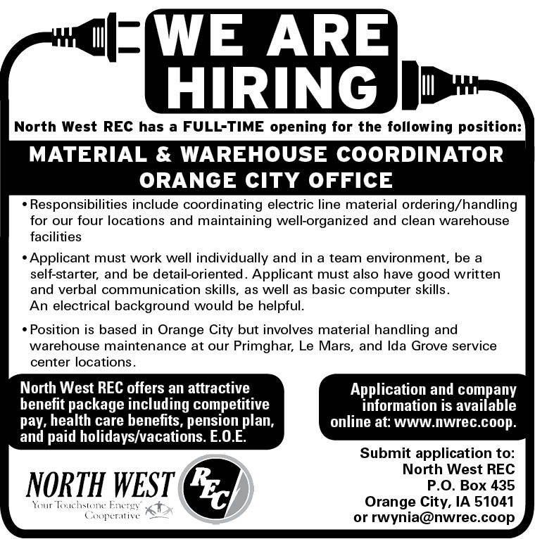 Material & Warehouse Coordinator at North West REC