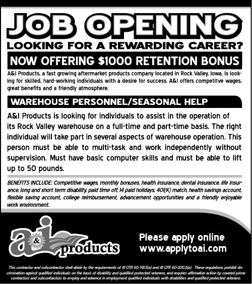 Warehouse Personnel/ Seasonal Help at A&I Products