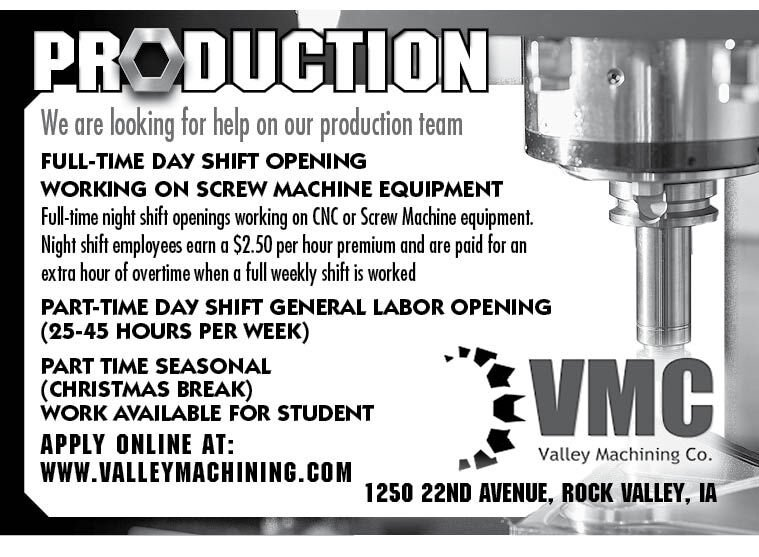 Positions at Valley Machining
