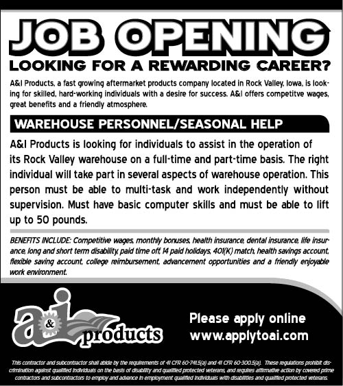 Warehouse positions at A&I Products