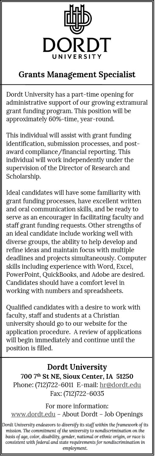 Grants Management Specialist at Dordt University