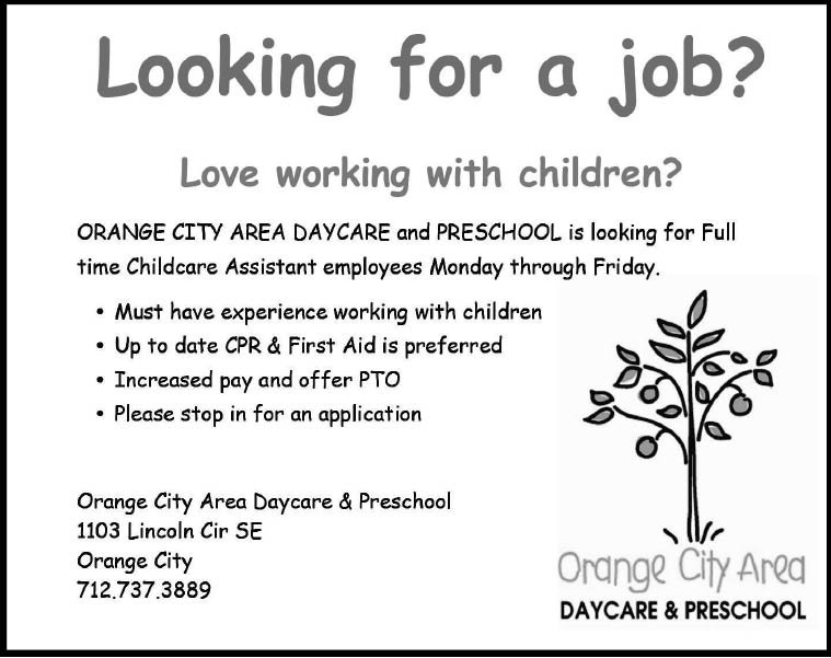 Childcare Assistant at Orange City Area Daycare