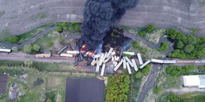 Drone shot of train derailment in Sibley
