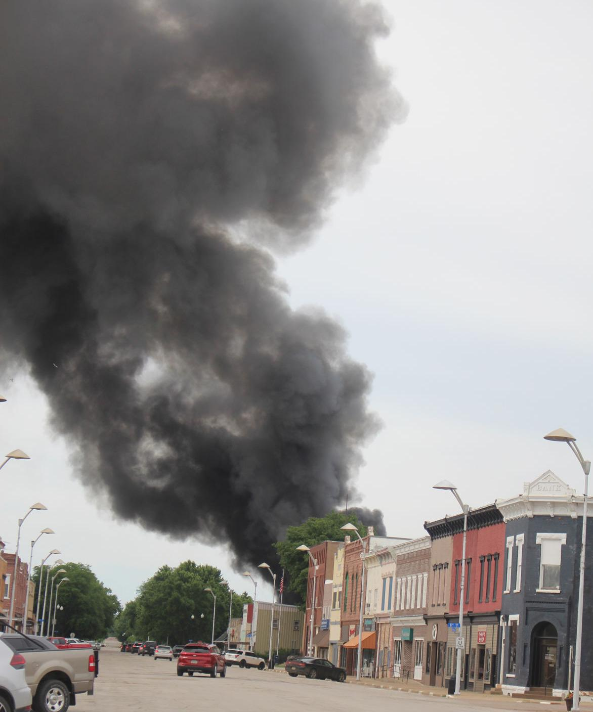 Downtown Hawarden rolling with smoke