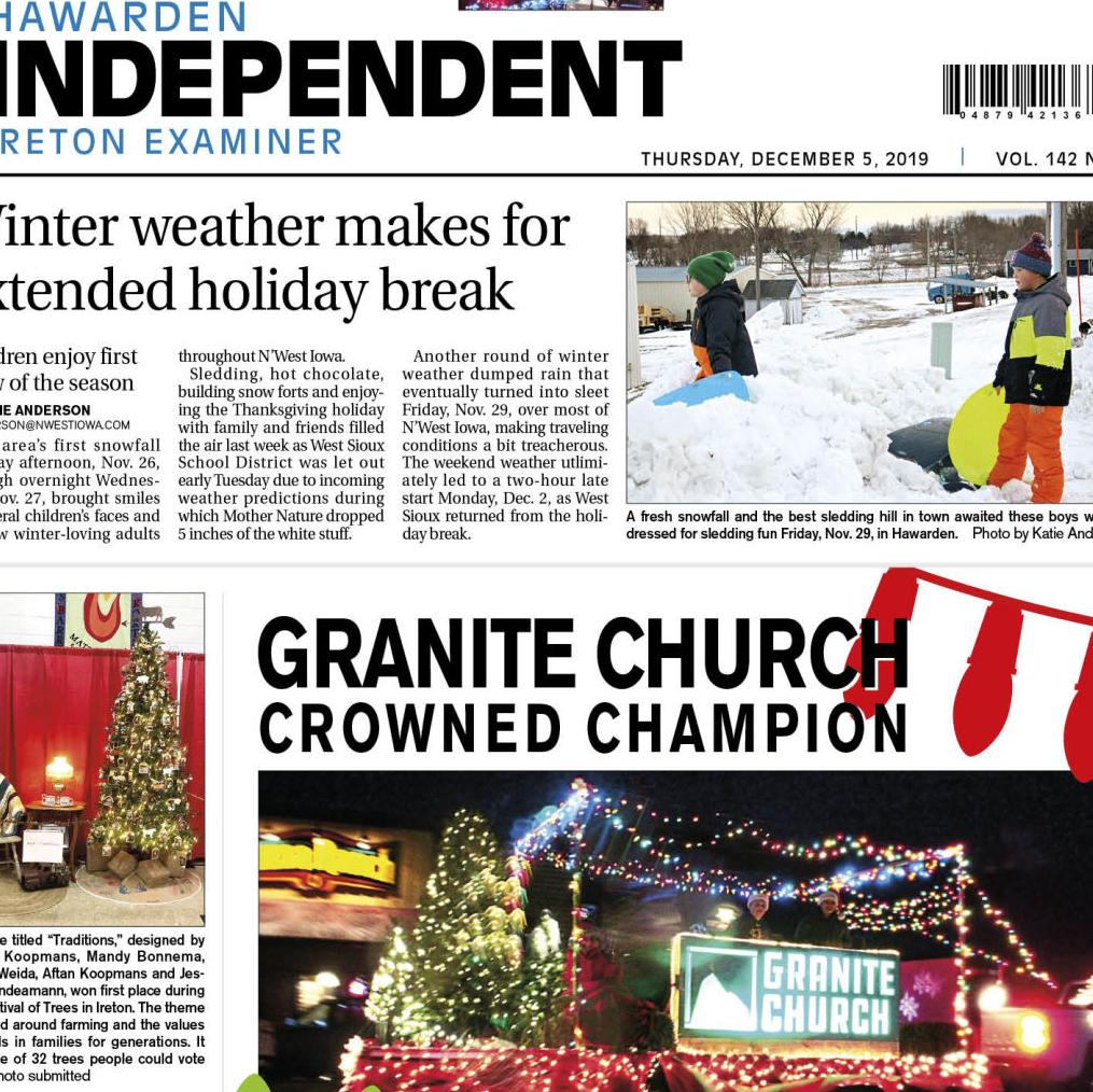 Hawarden Independent/Ireton Examiner Dec. 5, 2019