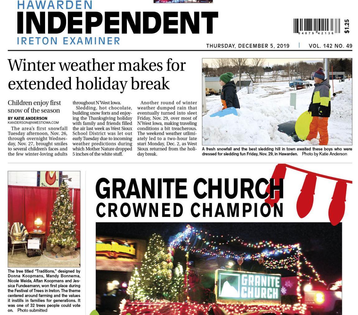 Hawarden Independent/Ireton Examiner Dec. 5, 2019