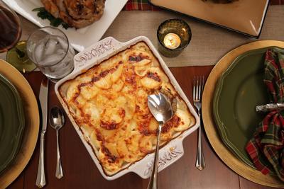 Cheesy Potato Gratin with Sage Cream