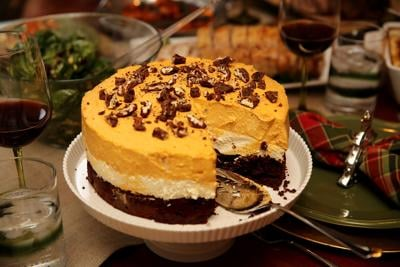 Layered Pumpkin Cheesecake with Brownie Bottom