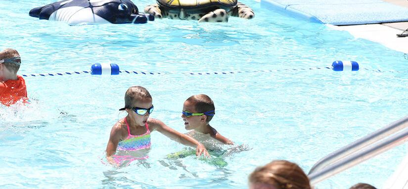 kids swimming in Sanborn pool