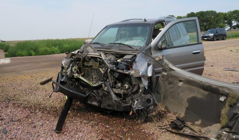 Buick Rainier damaged after hitting train