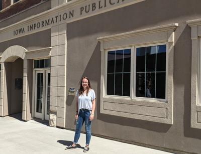 Lydia Hansen outside Iowa Information