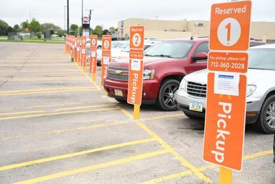 Parking spaces set aside for order pickup