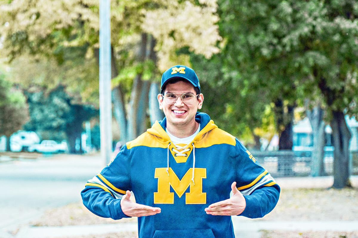 Leo Marquez in U of Michigan clothes