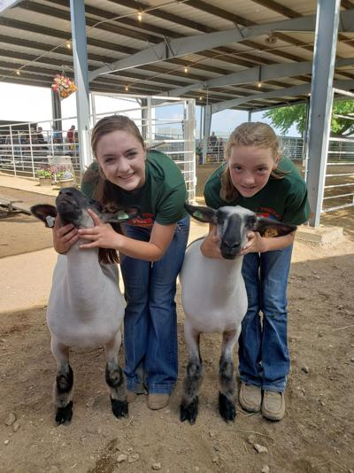 Jenna and Carli with their 4-H sheep