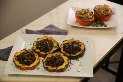 Sausage and Spinach Stuffed Acorn Squash Rings
