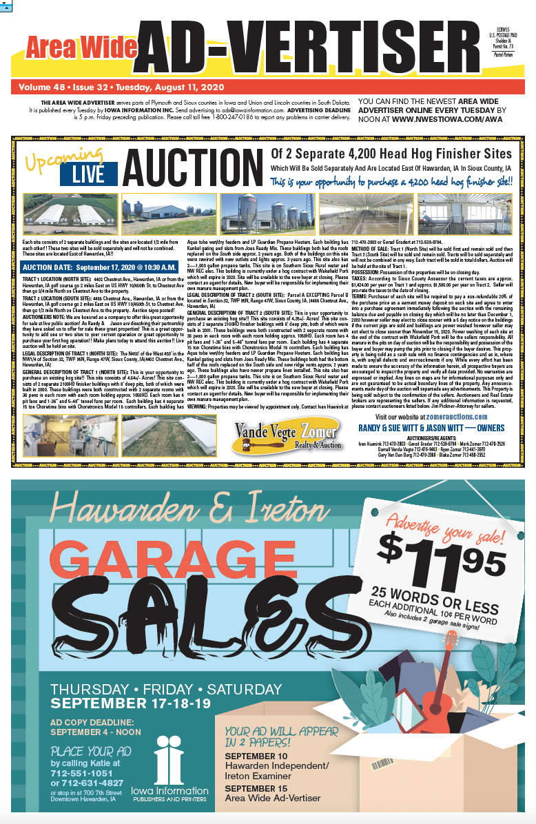 Area Wide Ad-vertiser: August 11, 2020