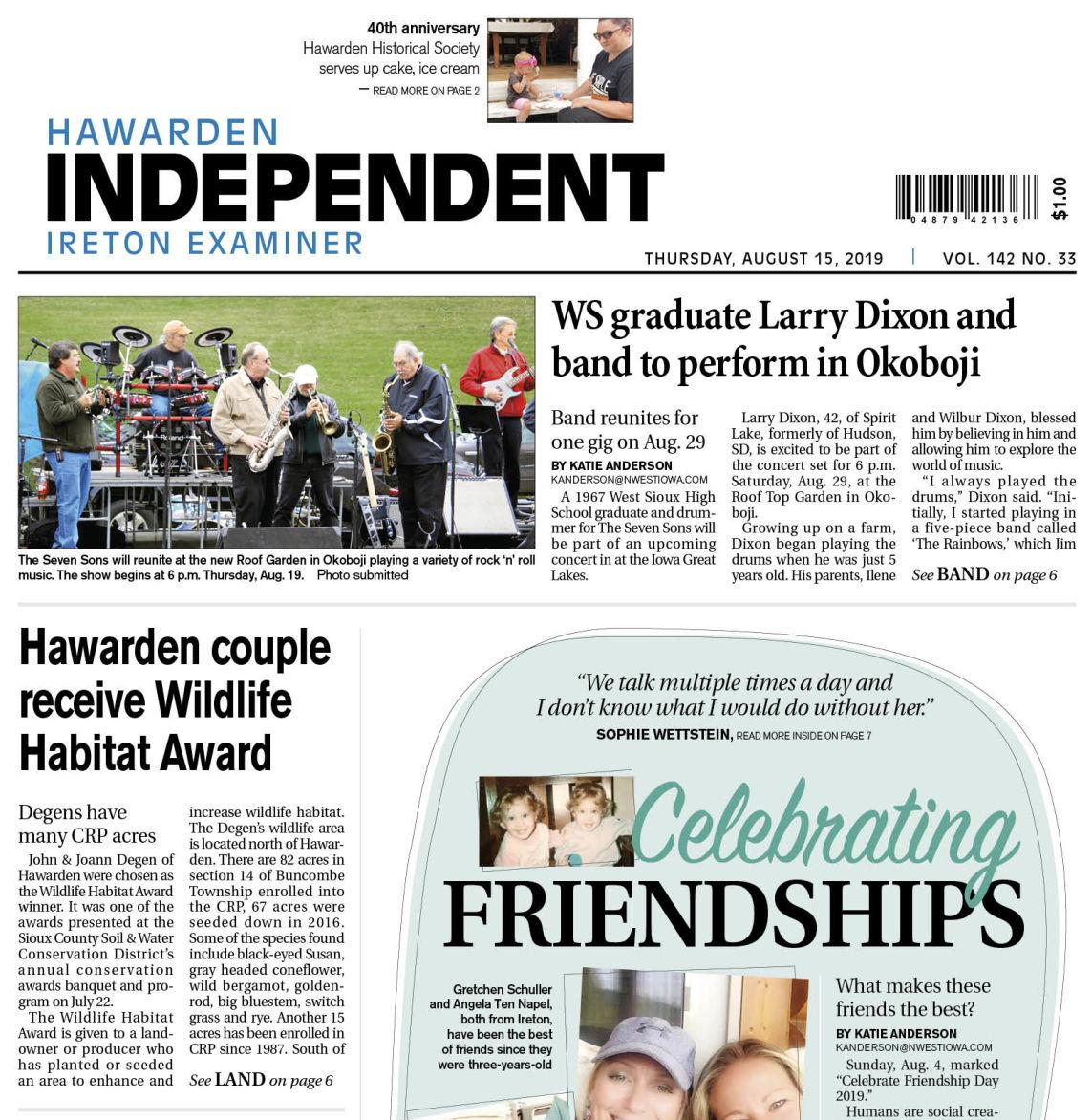 Hawarden Independent/Ireton Examiner Aug. 15, 2019