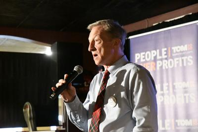 Tom Steyer speaks in Sheldon