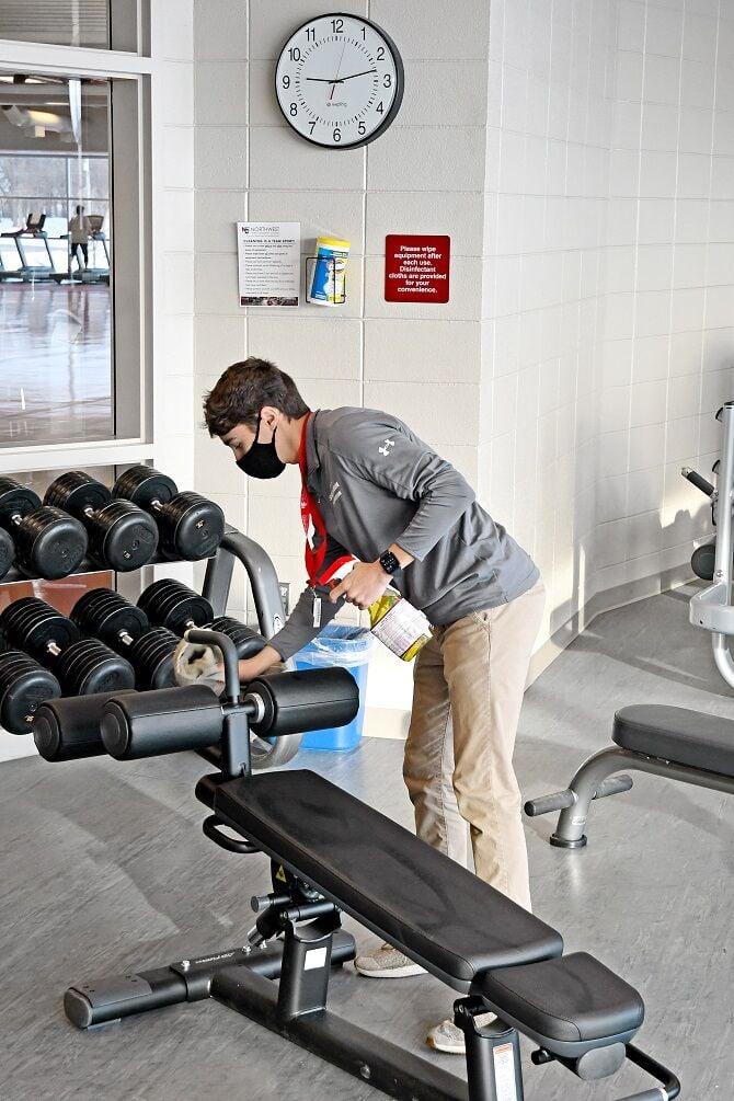 Trevor Cast cleans bench