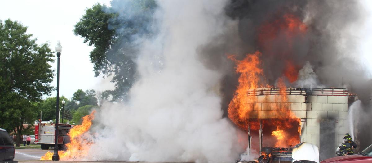Jeff's Radiator & Exhaust Repair on fire