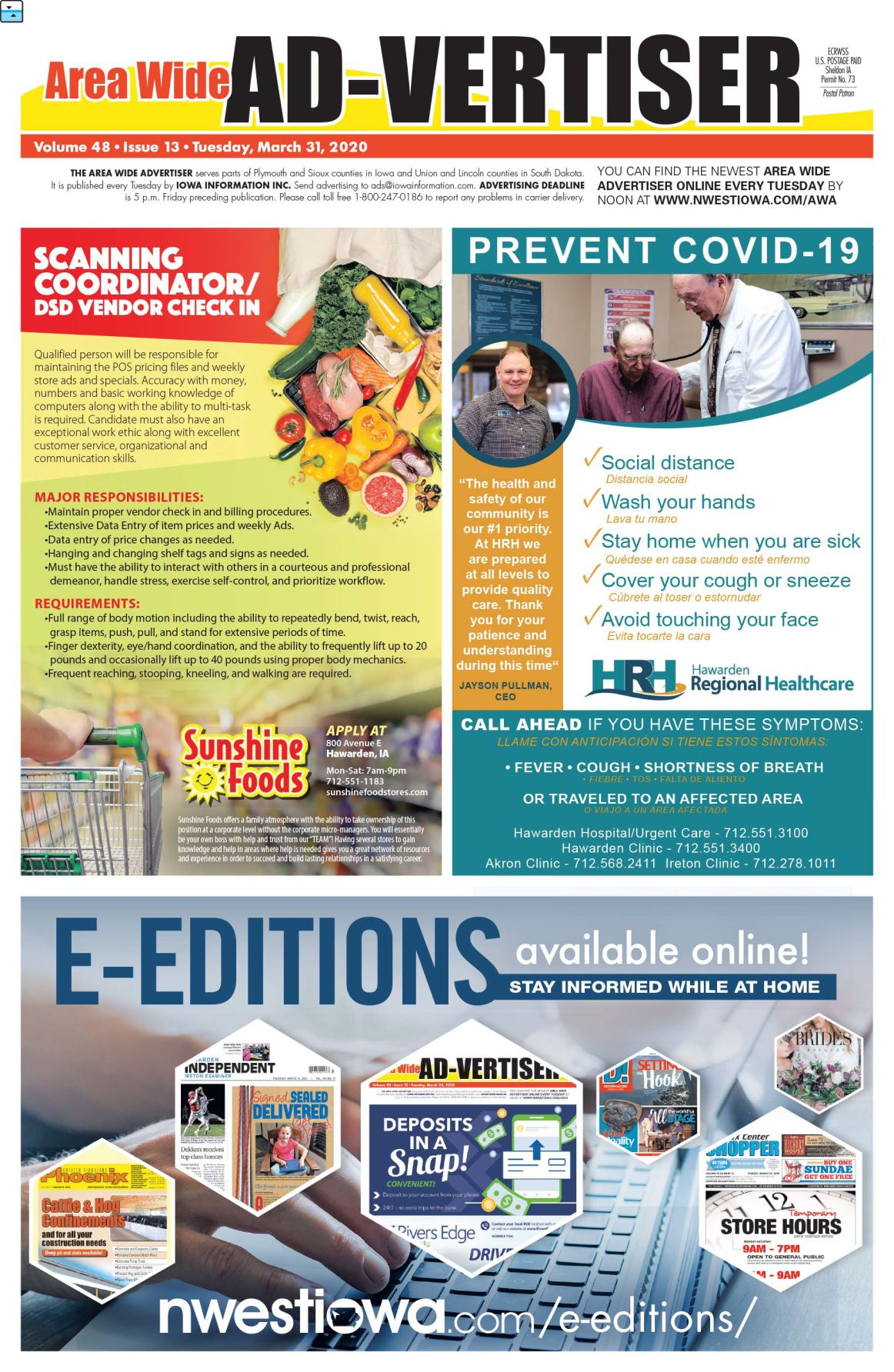 Area Wide Ad-vertiser: March 31, 2020