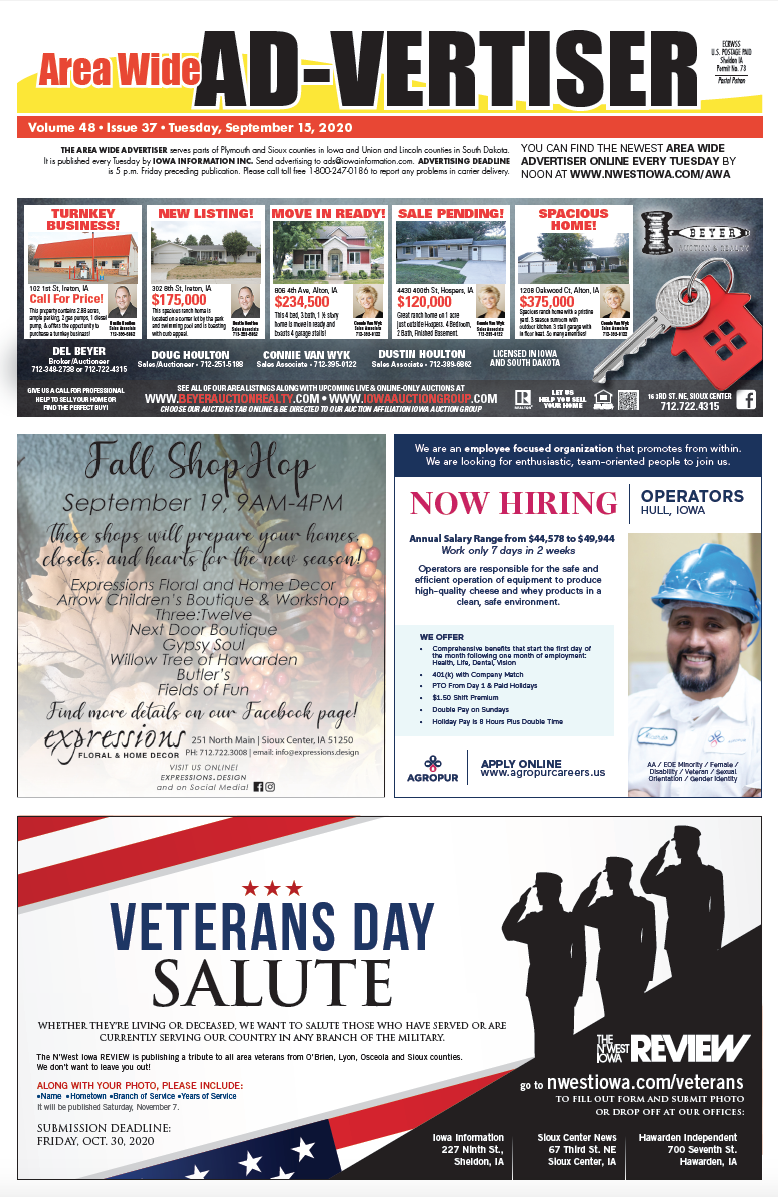 Area Wide Ad-vertiser: September 15, 2020