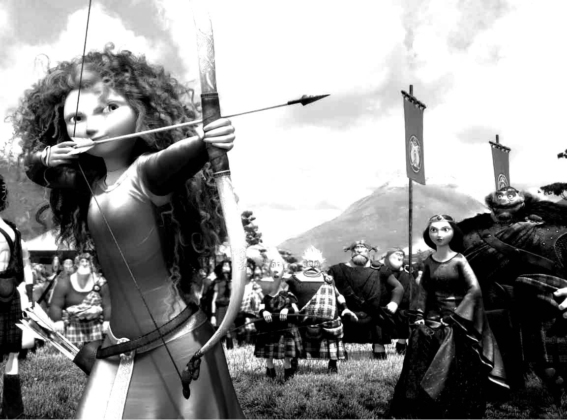 Merida in Disney's Brave defies expectations by shooting an arrow.