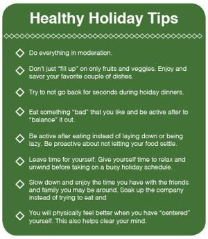 Healthy Holiday Tips, check list