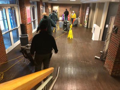 Union clean up after sprinkler line breaks