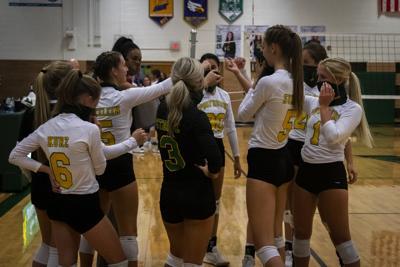 Volleyball Huddle at Varsity Game