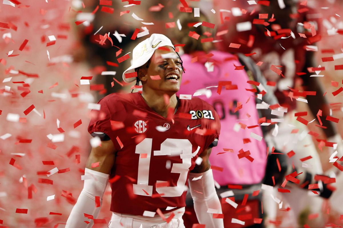 Malachi Moore #13 of the Alabama Crimson Tide celebrates following the College Football Playoff National Championship game win over the Ohio State Buckeyes at Hard Rock Stadium on Jan. 11, 2021 in Miami Gardens, Florida.