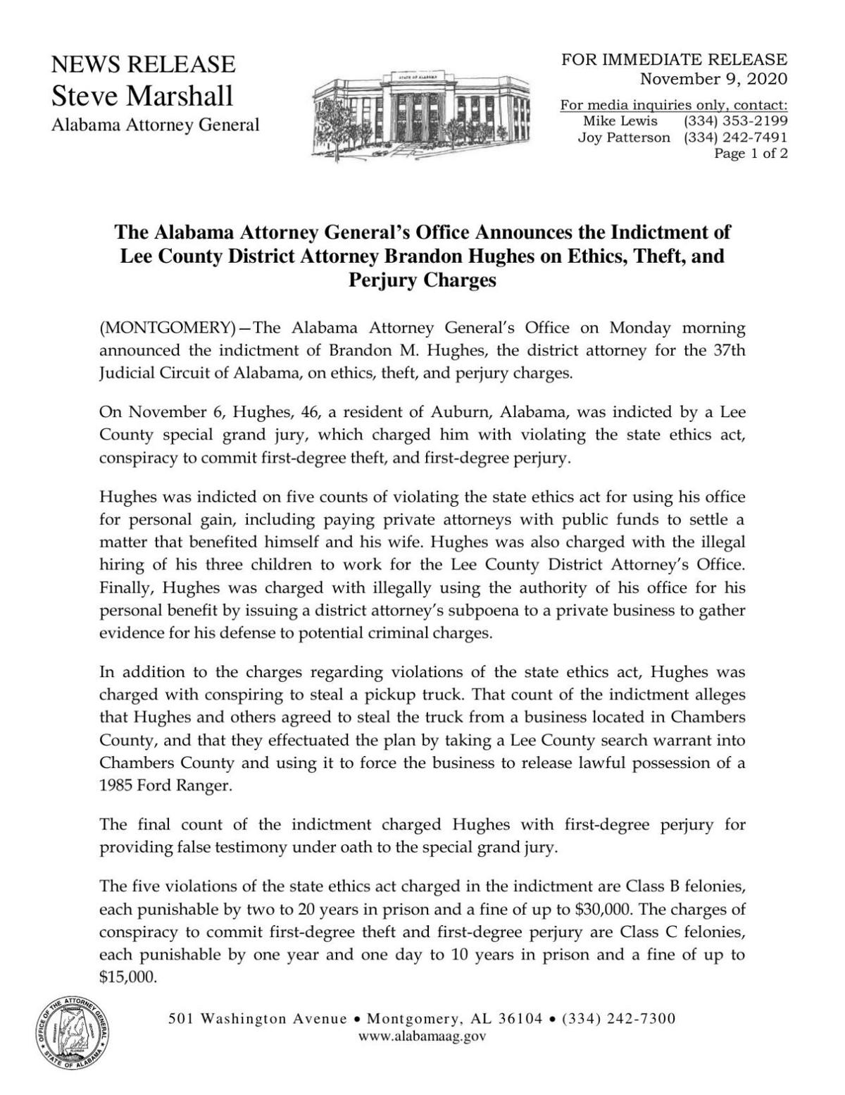 Attorney Generals Office Announces Ethics Indictment of Lee County District Attorney Brandon Hughes.pdf