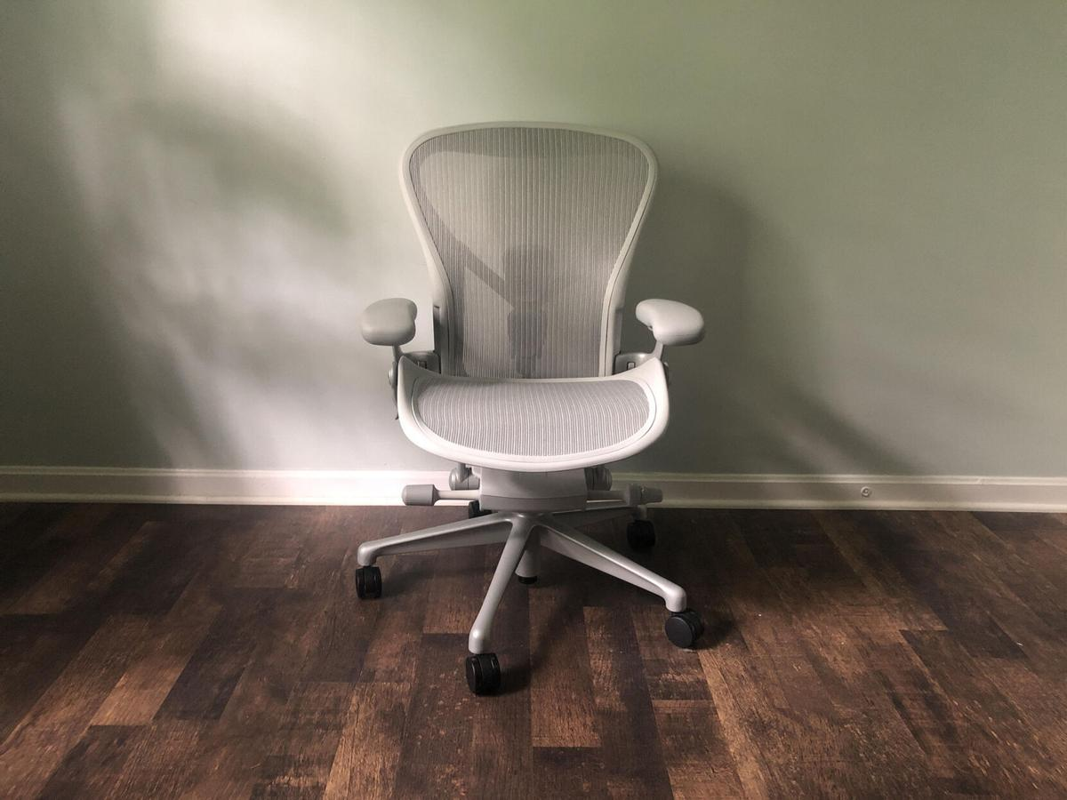 Herman Miller Aeron Chair has lots of adjustability, lumbar support and, it comes in three sizes.