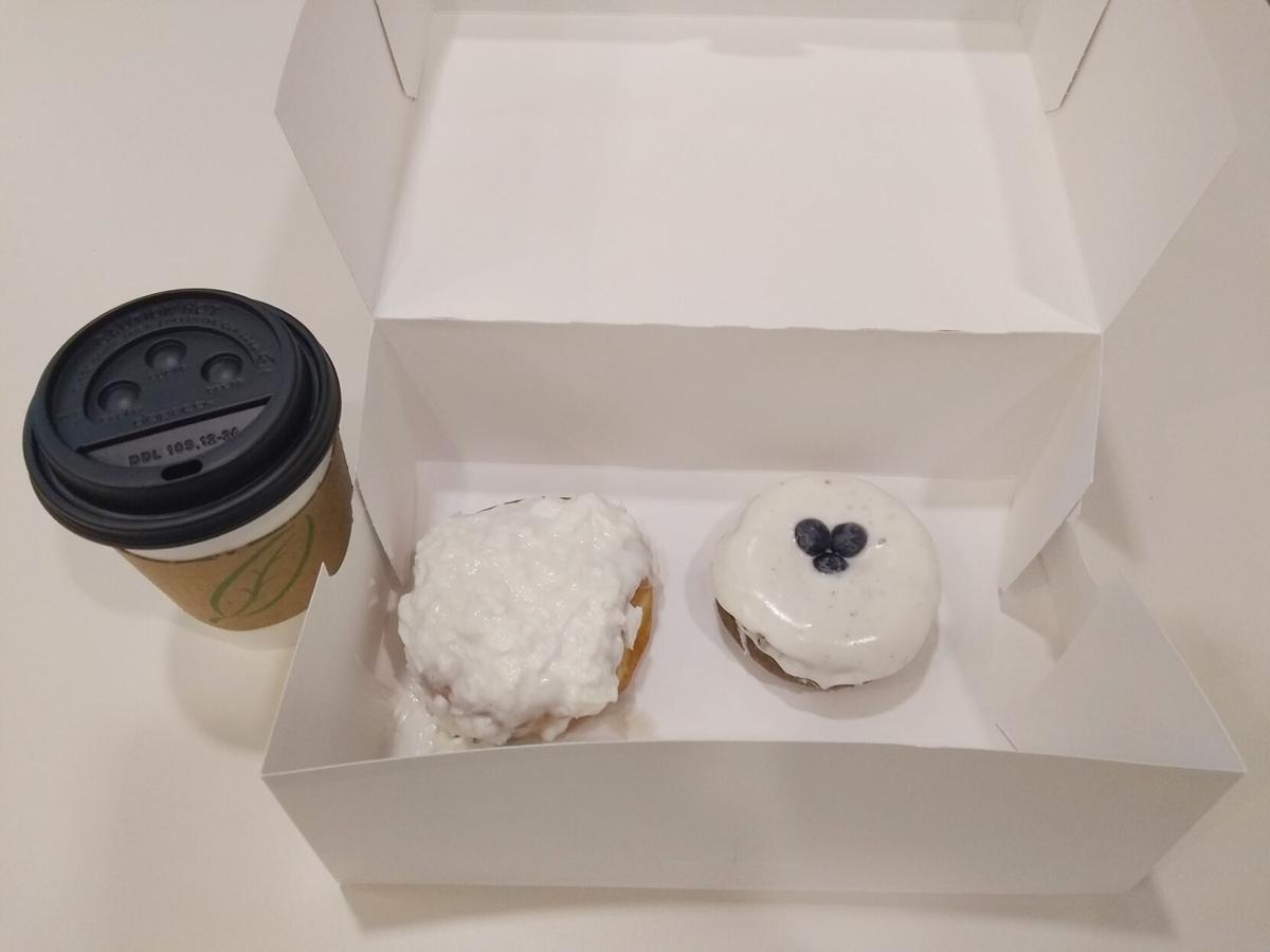 Blueberries and coconut and donuts make a great match