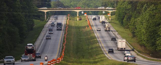 Road Construction shot - I-85 between Exit 51 and 57