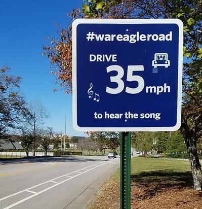 "Auburn University's ""War Eagle Road"" sign"