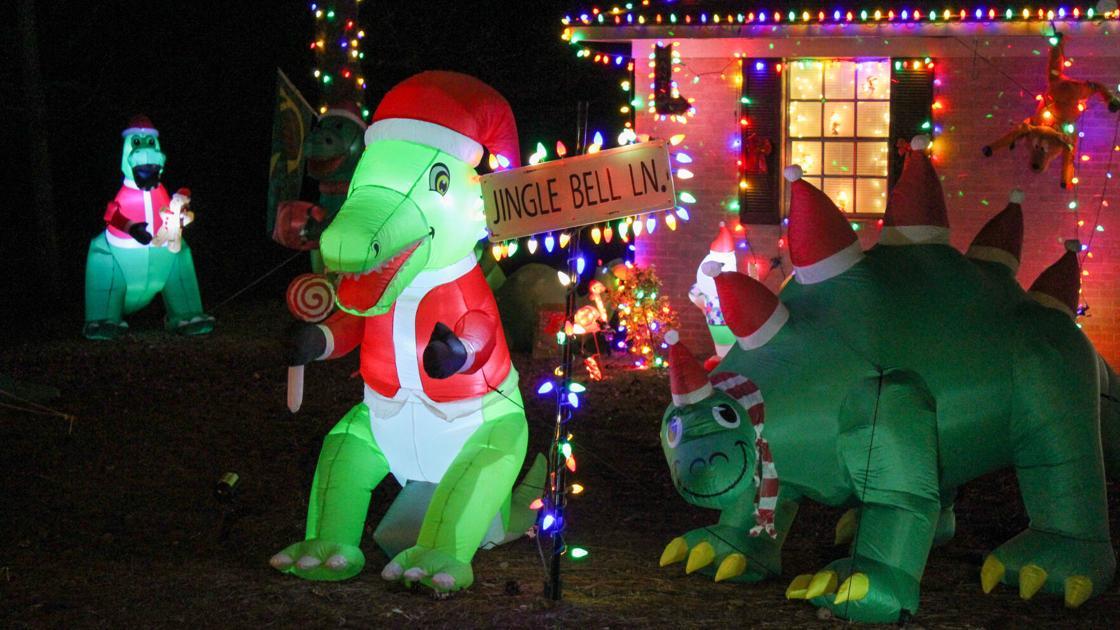 Dinosaur-themed display brings cheer to Opelika